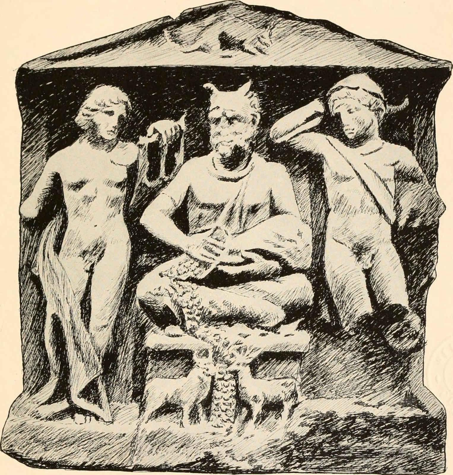sketch of relief of horned god in Reims, France